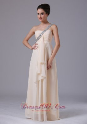 Best Champagne One Shoulder Empire Chiffon Prom Dress Ruffles