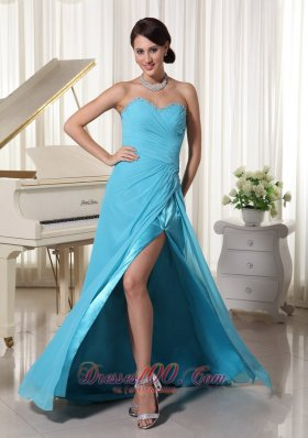 Best Aqua Blue High Slit Prom Party Dress With Beading Decorated Sweetheart and Ruch Brush Train Chiffon and Elastic Woven Satin