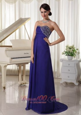 Best Purple Empire Chiffon Brush Train Custom Made Evening Party Dress With Beading Decorated Sweetheart