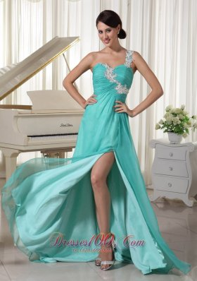 Best Turquoise Appliques Decorate One Shoulder and Bust Sexy Prom Dress With High Slit Chiffon and Elastic Woven Satin Brush Train