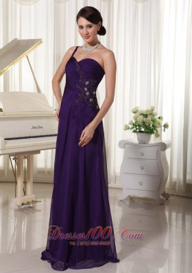 Best Custom Made Purple Chiffon One Shoulder Prom Evening Dress Appliques With Beading Bust Floor-length