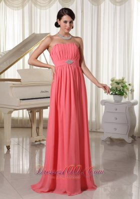 Best Watermelon Red Empire Chiffon Prom Dress With Beading and Ruch
