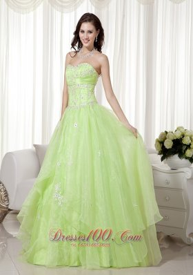 Best Yellow Green A-line Sweetheart Floor-length Organza Beading Prom Dress