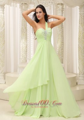 Best Yellow Green One Shoulder and Ruched Bodice Beaded Decorate Bust For 2013 Prom Dress