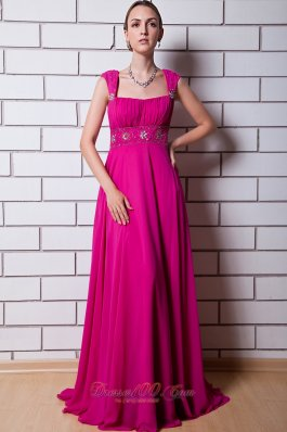 Best Hot Pink Empire Straps Prom Dress Chiffon Beading Floor-length