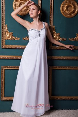 Best White Empire One Shoulder Floor-length Chiffon Beading Homecoming Dress