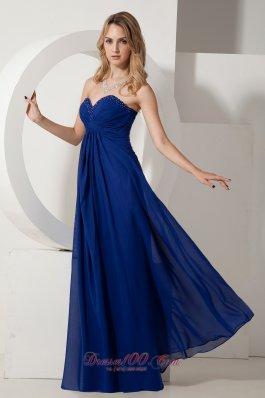 Best Royal Blue Empire Sweetheart Beading Prom / Evening Dress Floor-length Chiffon