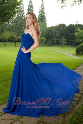 Best Blue Empire Sweetheart Brush Train Chiffon Ruch Prom Dress