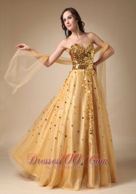 Best Gold A-line Sweetheart Sequins and Tulle Evening Dress