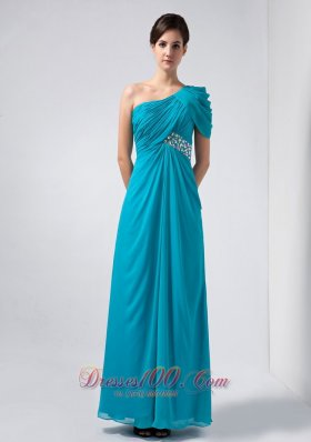 Clearence Beautiful Teal Column One Shoulder Homecoming Dress Ankle-length Chiffon Beading