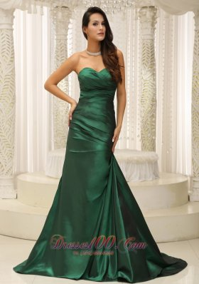 Clearence Dark Green Ruched Bodice For Modest Mother Of The Bride Dress Brush Train Custom Made