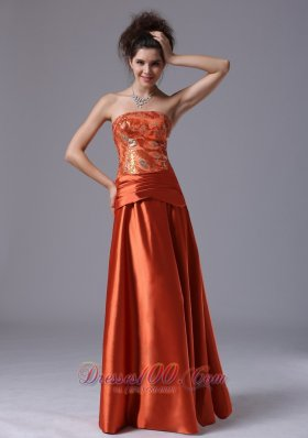 Clearence Beading Strapless Column Taffeta Floor-length Prom Dress Rust Red
