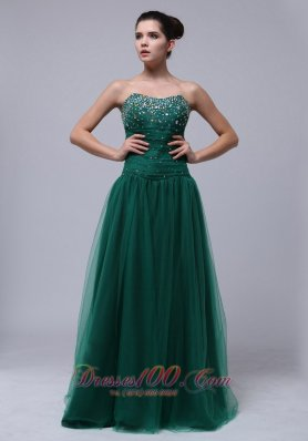 Clearence Beaded Decorate Bust For Dark Green Prom Dress In Mississippi