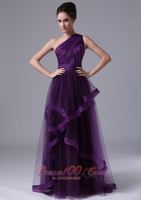 Clearence One Shoulder Tulle Empire Purple Ruched 2013 Prom Dress