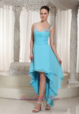 High-low Aqua Chiffon Evening Dress With Spaghetti Straps Beaded Decorate