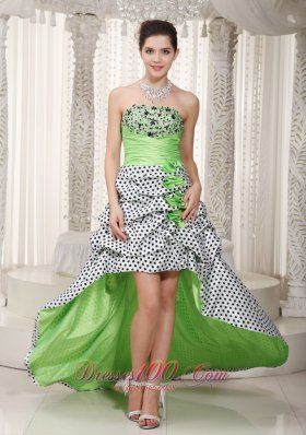 Spring Green A-line Strapless High-low Taffeta Beading Prom Dress
