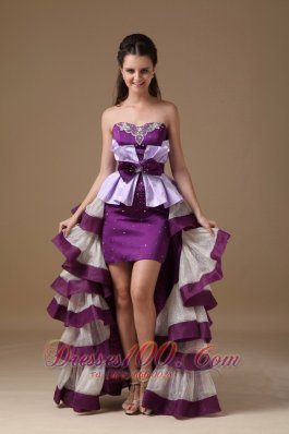 Multi-Color Sweetheart High-low Prom Dress Satin Beading
