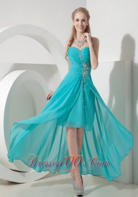 Teal and Gold High Low Prom Dresses