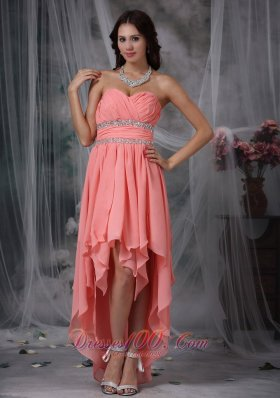 Watermelon Red Column Sweetheart High-low Chiffon Beading Prom Dress