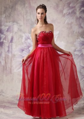 Plus Size Customize Red Sweetheart Prom / Evening Dress with Fuchsia Slash