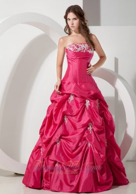 Plus Size Popular Hot Pink A-line Strapless Appliques Prom Dress Floor-length Taffeta