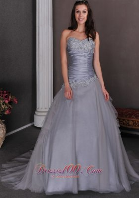 Plus Size Beautiful Grey Wedding Dress A-line Sweetheart Court Train Taffeta and Tulle Appliques