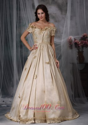 Plus Size Champagne A-line Off The Shoulder Floor-length Taffeta Hand Made Flowers Prom / Evening Dress