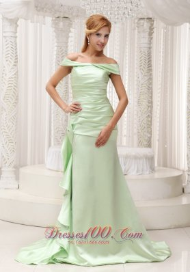 Plus Size Off The Shoulder Yellow Green Mother Of The Bride Dress For 2013 Taffeta and Brush Train