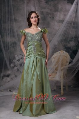 Plus Size Luxurious Olive Green Prom Dress Column Off The Shoulder Beading and Ruch Taffeta Floor-length