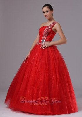 Plus Size Paillette Red Military Ball Gowns With Beaded Decorate One Shoulder In Campbell California