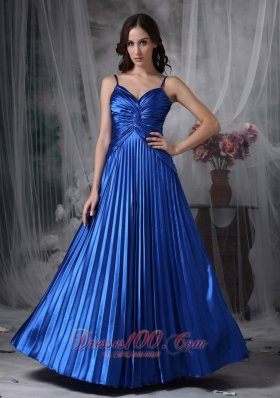 Plus Size Custom Made Royal Blue A-line Straps Evening Dress Elastic Woven Satin Ruch Floor-length