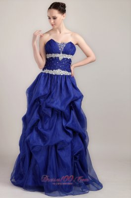 Plus Size Royal Blue A-line Sweetheart Floor-length Taffeta and Organza Beading Prom Dress