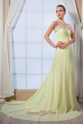 Plus Size Yellow Green Empire Sweetheart Beading Prom Dress Brush Train Chiffon