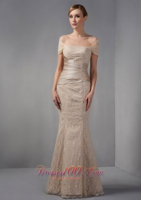Designer Unique Champagne Mermaid Prom Dress Off The Shoulder Beading Floor-length Lace
