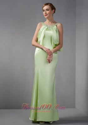 Designer Elegant Spring Green Mother Of The Brides Dress Column Scoop Beading Floor-length Elastic Woven Satin