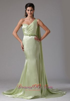 Designer Stylish Yellow Green One Shoulder 2013 Prom Celebirty Dress With Appliques Watteau Train In Groton Connecticut