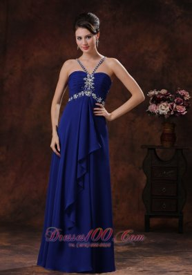 Designer Deaded Decorate Royal Blue V-neck Prom Dress In Grand Canyon Arizona