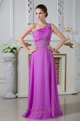 Designer Lavender Column One Shoulder Prom Dress Chiffon Ruch and Beading Floor-length