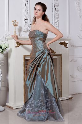Designer Olive Green Empire Strapless Embriodery Mother Of The Bride Dress Floor-length Taffeta and Organza