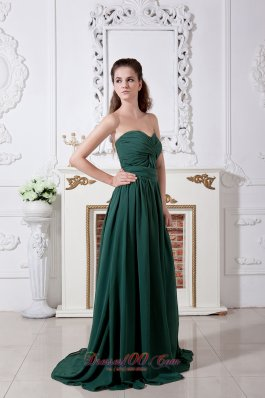 Designer Dark Green Empire Sweetheart Ruch Bridesmaid Dress Brush Train Chiffon
