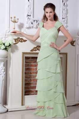 Designer Yellow Green V-neck Straps Rulles Layers Prom Dress
