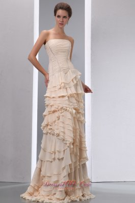 Designer Modest Champagne Column Strapless Ruffles Junior Prom Dress Brush Train Chiffon