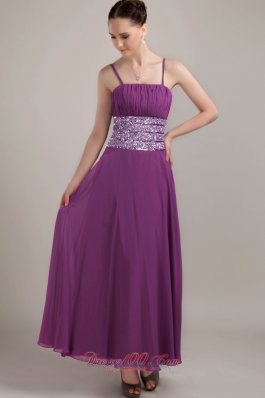Designer Purple Empire Strap Ankle-length Chiffon Ruch Prom Dress