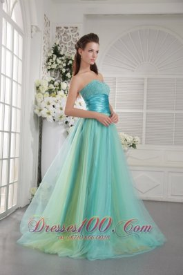 Designer Aqua Blue Princess Sweetheart Brush Train Tulle Beading Prom / Graduation Dress