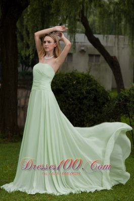 Designer Apple Green Empire Strapless Court Train Chiffon Prom Dress