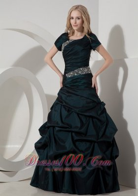 Designer Elegant Teal A-line Scoop Taffeta Beading Evening Dress Floor-length