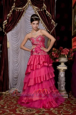 Designer Hot Pink 2013 Prom / Evening Dress A-line Sweetheart Taffeta and Tulle Beading Brush Train