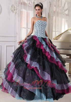 New Beautiful Multi-color Quinceanera Dress Strapless Organza Appliques With Beading Ball Gown