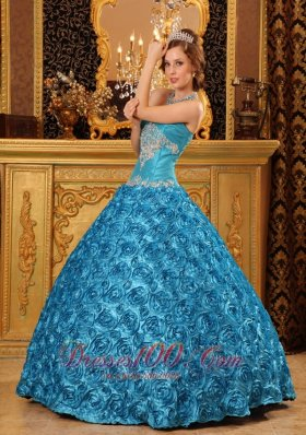 New Classical Sky Blue Quinceanera Dress Sweetheart Fabric With Rolling Flowers Appliques Ball Gown