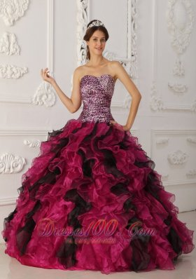 New Elegant Multi-color Quinceanera Dress Sweetheart Leopard and Organza Ruffles Ball Gown